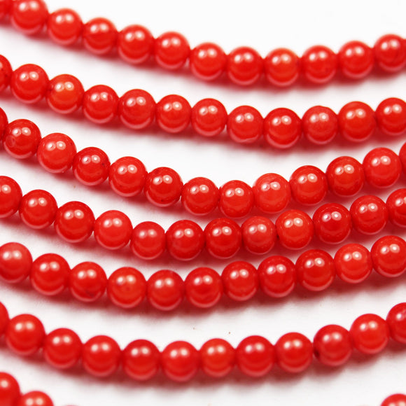 Red Coral, 3mm Red Round Gemstone Strand, 15.5 inch , about 150 beads , 0.6mm hole-GEM2534