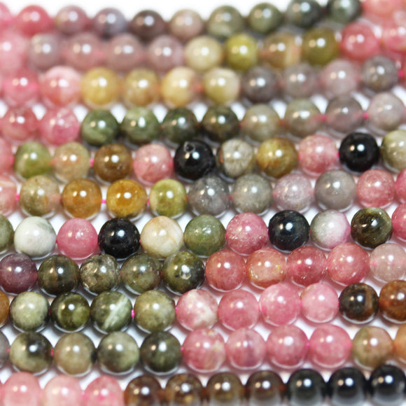 Tourmaline, 4.5mm Colorful Natural Tourmaline Gemstone Round Beads, 16