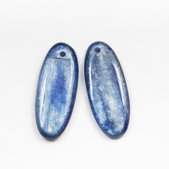 kyanite, One pair 25*10mm Oval Natural Gemstone Beads,Earring making drop, 3mm thick,hole1mm -GEM2559