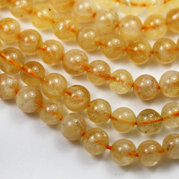 Genuine Natural Citrine, 6.5mm Round Shape Gemstone Beads, 16 inch , 0.8mm hole, about 60beads -GEM2570