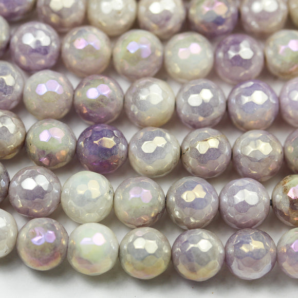 Lavender jade,8mm Faceted Round, AB coated,Mystic Coated Gemstone Strand, One full strand hole 1mm, 15.5 inch, about 50beads -GEM2584