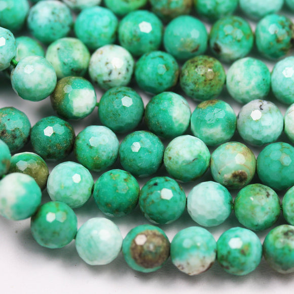 Natural green agate,6.5mm Faceted Round Gemstone Strand, One full strand,15.5inch, 0.6mm hole  -GEM2577