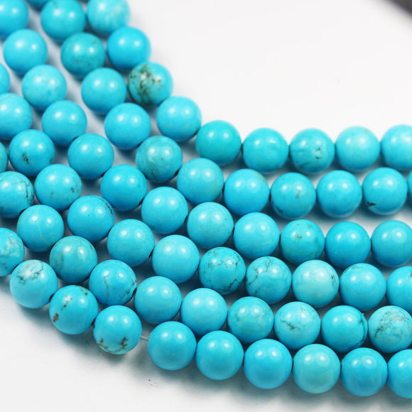 Turquoise, 10mm Round One full strand Gemstone Strand,Blue color, hole 1mm, about 40 beads-GEM2592