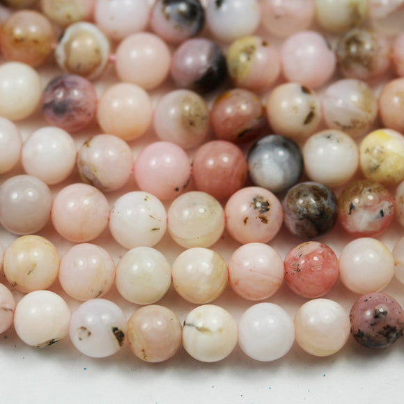 Pink Opal , 6mm Round Gemstone Beads ,One Full strand, 16