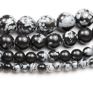 4/6/8/10mm Snow Flake Obsidian Natural Gemstone beads strand, 15.5inch -GEM2626