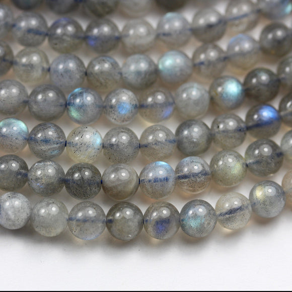 labradorite,  6mm round gemstone, One full strand  beads, hole 0.8mm,16