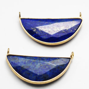 1pc 16*35mm Half Round Faceted Lapis Lazuli Gemstone Pendant , Gold Plated Edge with Double Loop Pendant - GEMPD0070