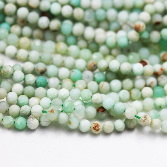 35%off Australia Chrysoprase,3.5mm Faceted Round Gemstone Beads, Full strand ,  16