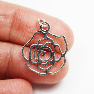 2pcs 925 Sterling Silver Jewellery findings Flower Charm Beads , 17*17mm Flower,4mm jump ring - FDSSB0602