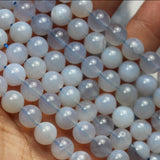 Natural Blue chalcedony, 8mm Round Gemstone Strand,One full strand 15.5inch, 1mm hole -GEM2629