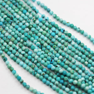 Natural Turquoise, 2mm Faceted Round  Gemstone Strand, 15.5inch, 0.4mm hole , Green &Brown color -GEM2649