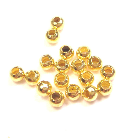 300pcs Jewellery findings Ball Beads Gold Plated Tone,4mm hole1mm - FDB0036-1