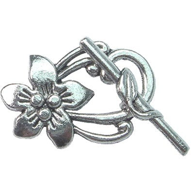 4sets Jewellery Findings Clasps Tibetan Silver Alloy,Flower,Antique Silver Toggle 20*30mm -PEWT0016