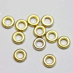 40pcs Jewellery Findings,Big hole Round Spacer Beads, Gold plated brass,5.5mm, 1.5mm thick, hole3mm - FDS0033