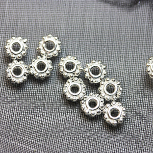 12pcs 5mm Jewellery Findings Daisy Spacers,925 sterling silver,5mm diameter, 1mm thick, hole 1mm. - FDSSS0004