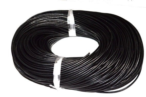3M 2mm Leather Cord Black Natural Dyed Matte Finish, Jewellery Making Chain-WC0023