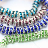 12pcs Rhinestone Round Spacer Beads Jewellery Findings,You pick up color,Silver plated Brass,6mm,3mm thick, hole1mm - MER0099-102