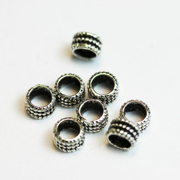 8pcs Big hole 925 sterling silver Jewellery Findings Spacers,5mm diameter, 3mm thick, hole 3.5mm. - FDSSS0011