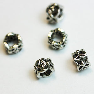 6pcs Big hole 6mm Antiqued 925 Sterling Silver Jewellery findings Filigree Rondelle Beads, 4.5*6mm, hole3mm - FDSSS0013