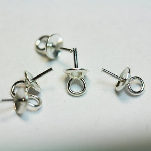 10pcs 5*9.5mm 925 Sterling silver Cup Jewellery Findings  Pearl Bail Pin Pendants, For Half-drilled Beads -FDSSC0016