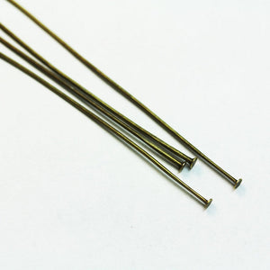 100pcs Jewellery findings Head Pin Brass Tone,70mm  End2mm  - FDP0022