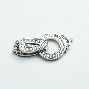 1pc 1,2,3 Strand 925 Sterling Silver with Cubic Zirconia Jewellery findings Fold Over Clasp,22*11mm - FDSSCS0034