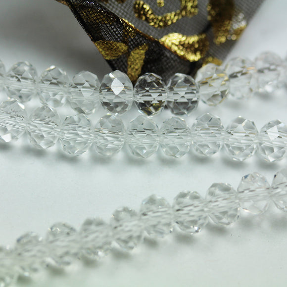 One full strand 6*4.5mm Jewelry Beads Strands,Crystal Glass,Faceted rondelle,Clear ,100 beads,Hole1mm, 16