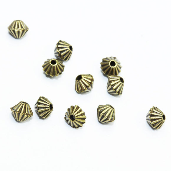 80pcs 4mm Bicone Jewellery findings Beads, Antique brass tone Alloy- FDB00181