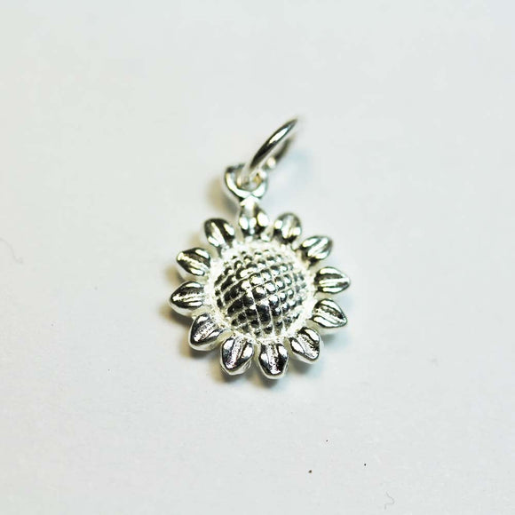 2pcs 925 Sterling Silver Jewellery findings Charm Beads , 11mm SunFlower, 6mm ring- FDSSB0087
