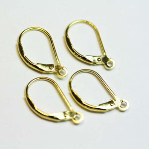 4pcs Jewellery Findings Earwire 24 k gold vermeil on 925 Sterling Silver,10* 17mm Leverback with open loop-FDGFE009