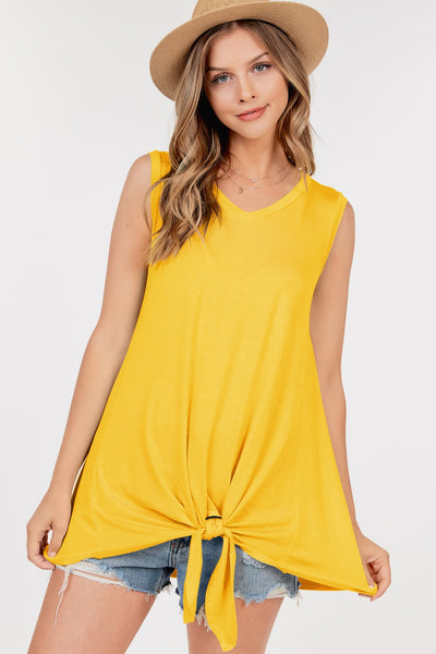 Bailey Basic Front Tie Top - Yellow