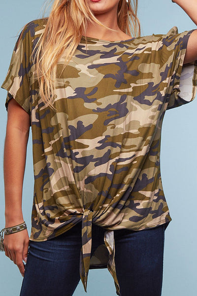 Tied Up In Camo Top (up to XL!)