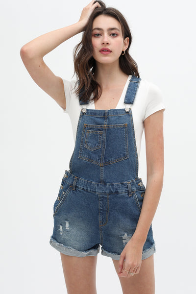 Delia Distressed Denim Overalls