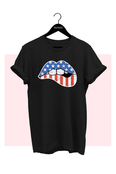 American Flag Lips Graphic Tee