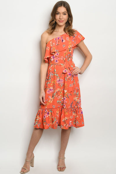 Running With Wildflowers One Shoulder Dress