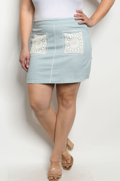 Plus Size Druzy Denim Skirt
