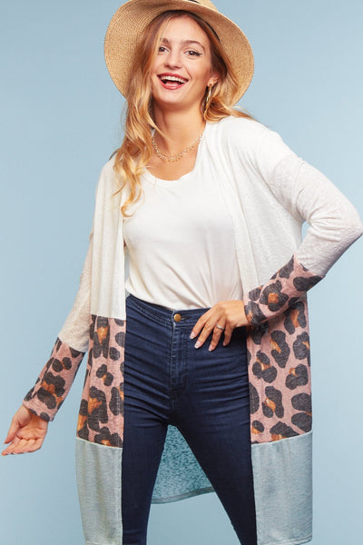 Lexi Leopard Color Block Cardigan (up to 3XL!)