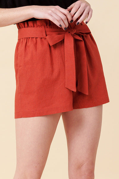 Perfectly Posh High Waist Paperbag Shorts- Terra Cotta