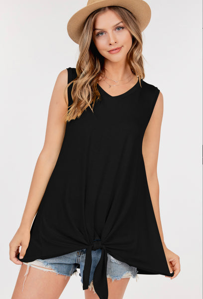 Bailey Basic Front Tie Top - Black