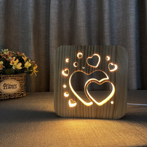 3D Wooden Two Hearts Lights - OrderConcept