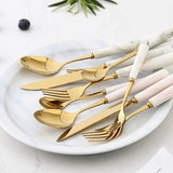 Golden Ceramic Cutlery Set - OrderConcept
