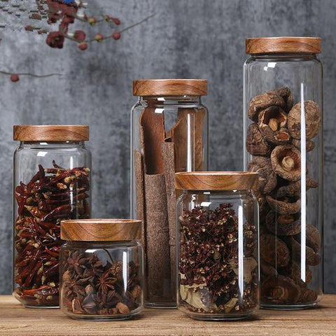 Acacia & Tempered Glass Jars - OrderConcept
