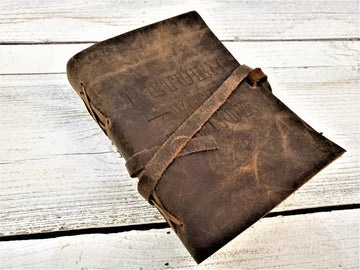 Handmade antique leather LDS journal personalized with Return with Honor