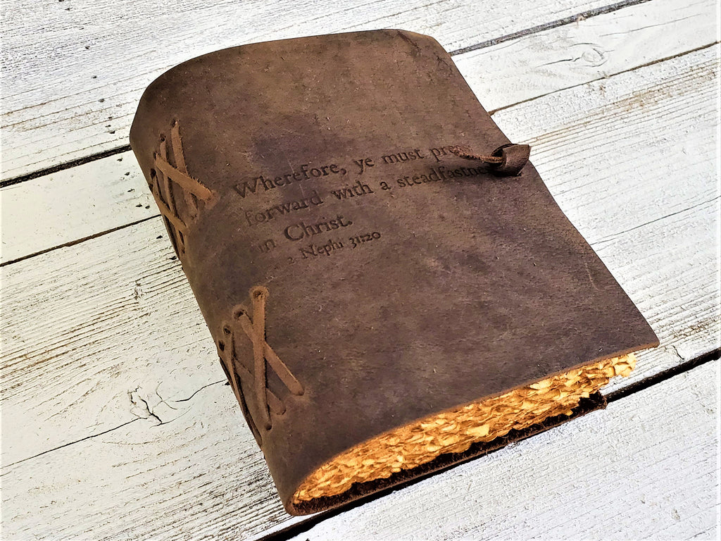 Personalized LDS leather journal customized with LDS scriptures