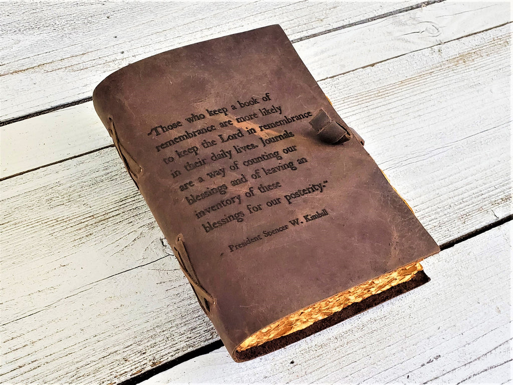 Handmade leather LDS journal personalized with quote from prophet