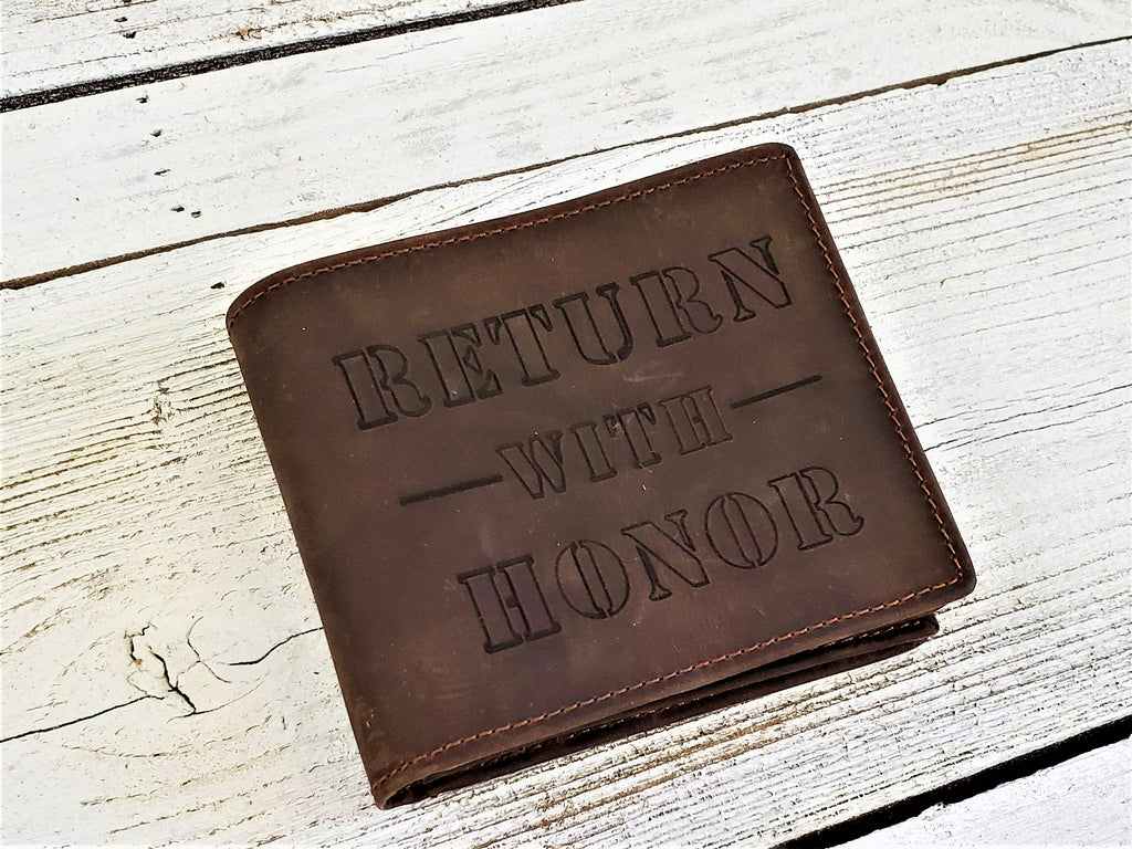 Personalized LDS leather wallet customized with return with honor