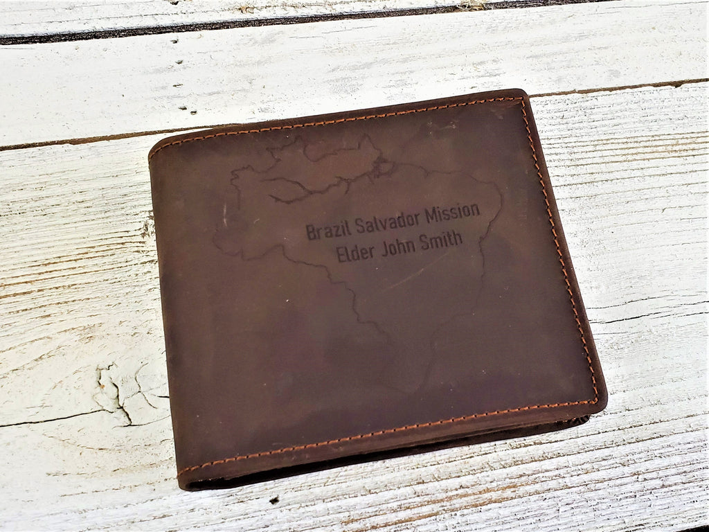 Personalized LDS missionary wallet customized with mission and missionaries name