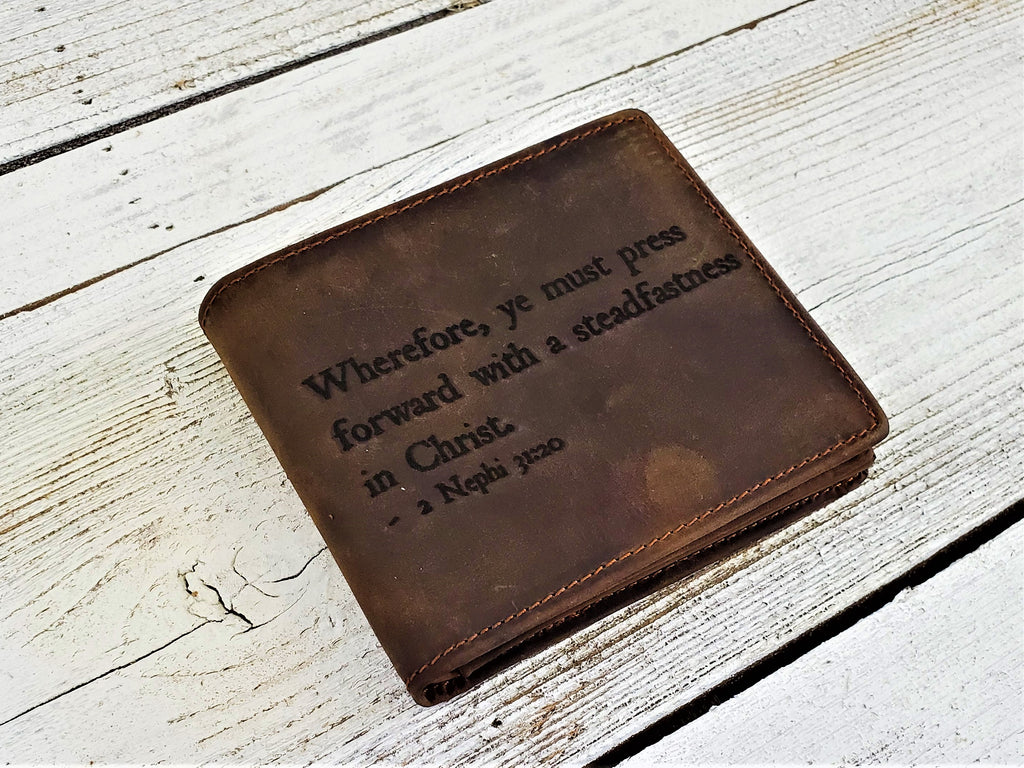 Personalized LDS leather wallet customized with Steadfastness in Christ