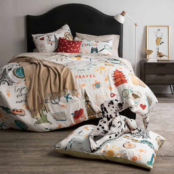 Dog Whisperer Globe Trotter Comforter Set & Pet Bed