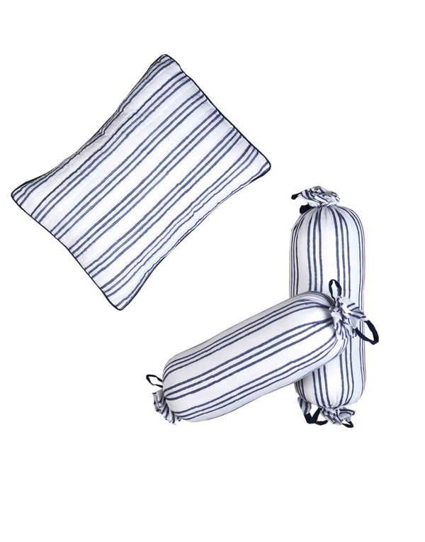 Pure Elegance Blue Stripe Pillow & Boltser Set